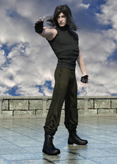 3d render of a young handsome magician evoking magical force on sky background