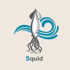 image of squid and sea waves