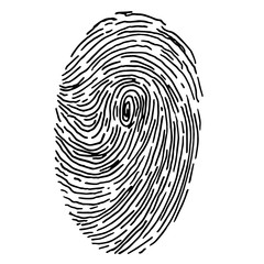 Vector fingerprint sketch. Hand drawn outline illustration with human finger print