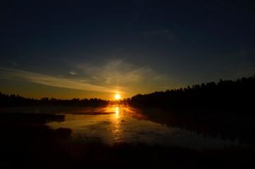 MIDNIGHT SUN IN NORTHERN FINLAND, LAPLAND, SCANDINAVIA, EUROPE