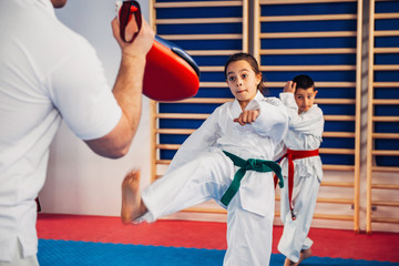 Tae kwon do.Tae kwon do instructor on training with kids