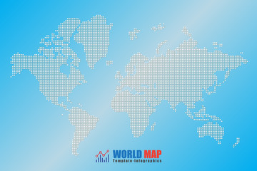Design template, abstract computer graphic World Map of white round dots. Vector illustration