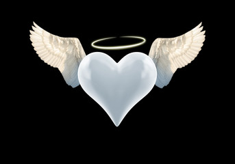 Angel Heart with Wings and Halo