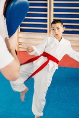 Tae kwon do training. Boy on tae kwon do training