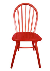 Wooden chair isolated - red