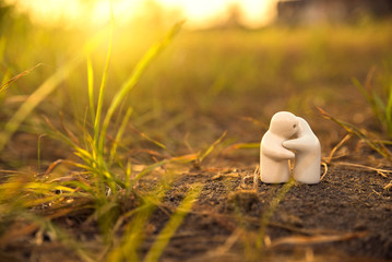 a doll  hug love couple with on soil grounds sunset