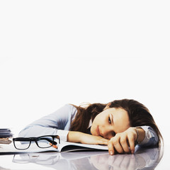 tired and exhausted   woman working in the office (psychological