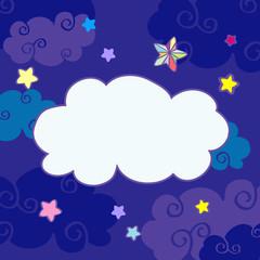 Vector nighttime cartoon clouds frame
