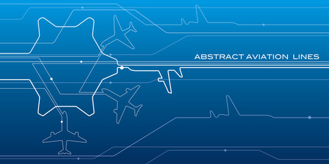 Abstract airport white lines composition, transportation background, vector design aviation wallpaper Wall mural