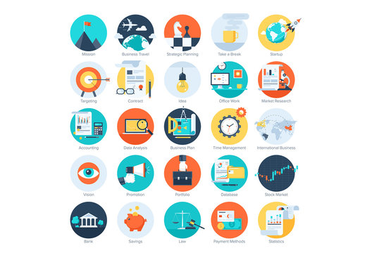 25 Flat Circular Business and Analytics Icons