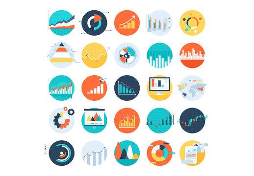 25 Flat Circular Infographic Icons