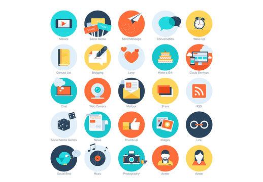 25 Flat Circular Social Media Icons