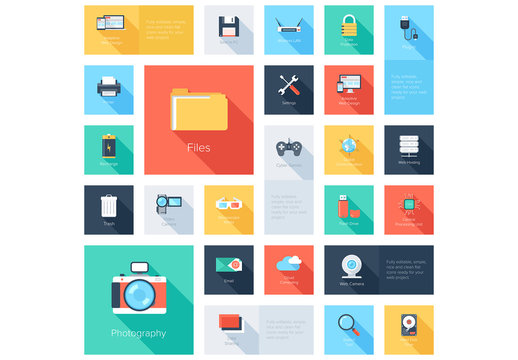 Media and Tech Grid Illustration
