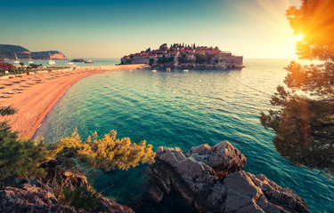 Staande foto Kust View in the Adriatic sea and Sveti Stefan at sunset. Milocer Park. Coast Budva Riviera. Montenegro.