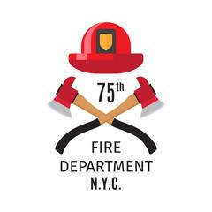 Firefighter emblem with vector cross fire axes and fireman helmet
