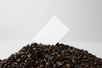 Coffee beans with business card