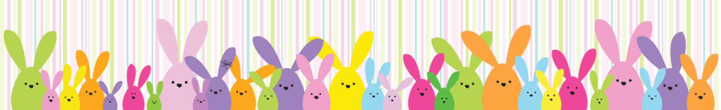 Easter banner. Happy Easter bunny family. Design element.