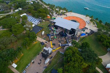 Aerial image of a concert setup for New Years Eve