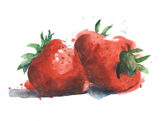Strawberries watercolor illustration isolated on background