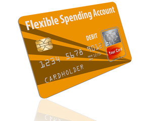 Flexible Spending Account debit card that is a mock card is  seen here. This is a card used to pay medical costs from a medical spending account.