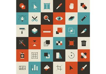 36 Flat Four-Color Design Icons