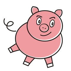 Enraged pink pig. Vector illustration.