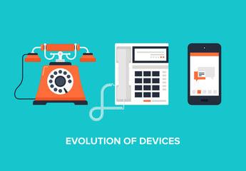 Flat Phone Evolution Illustration