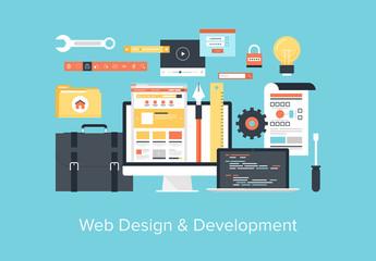 Flat Web Design and Development Illustration