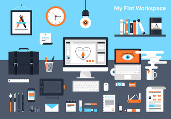 Flat Workspace Illustration