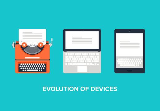 Flat Computing Evolution Illustration