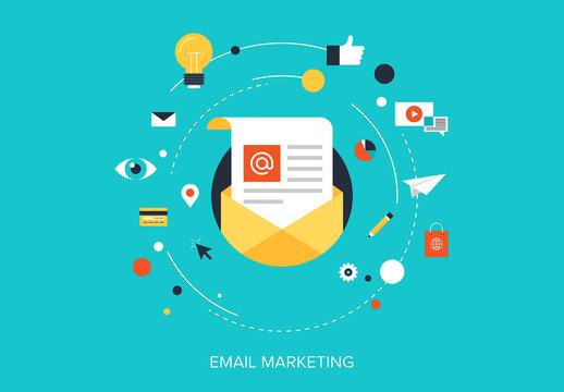 Flat Email Marketing Illustration