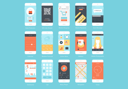 15 Mobile Device Screen Illustrations