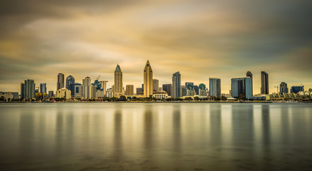 Fototapete - Sunset skyline of San Diego downtown, California