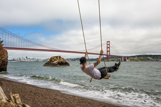 Swing and the Golden gate bridge in San Francisco