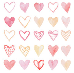 Happy Valentines Day watercolor hearts background vector illustration.