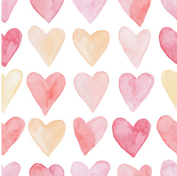 Happy Valentines Day watercolor hearts background vector illustration. Seamless pattern.