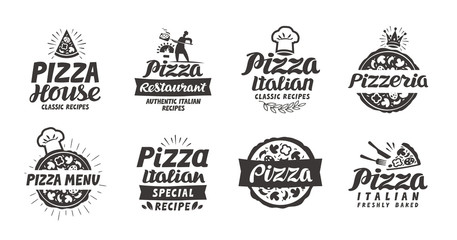 Pizza set logo, label, element. Pizzeria, restaurant, food icons. Vector illustration