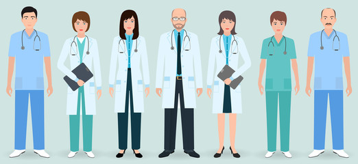 Hospital staff. Set of seven man and woman doctors and nurses. Medical people.