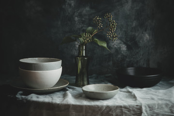 Still life of pottery bowls on a table