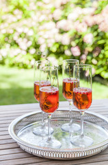 Four glasses of sparkling rose wine