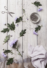 Lavender and flowers on a tabletop