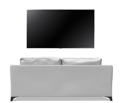 back view of white sofa with big smart tv
