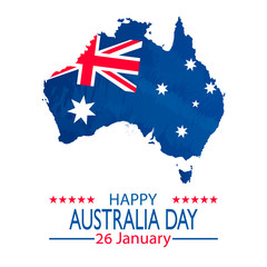 26 January Happy Australia Day. Retro Grunge Background and Flag Illustration and Vector Elements National Concept Greeting Card, Poster or Web Banner Design