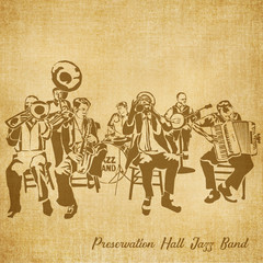 Profile Sketch Illustration on Parchment Preservation Hall Band