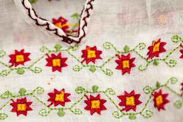 Romanian traditional blouse - textures and traditional motifs, vintage textures