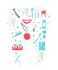Dental icon set in tooth form, flat style. Stomatology kit isolated on white background.Dentistry collection of design elements. Vector illustration, clip art