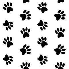 black footprints paw on a white background step trace pattern se