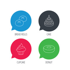 Colored speech bubbles. Cupcake, cake and bread rolls icons. Sweet donut linear sign. Flat web buttons with linear icons. Vector
