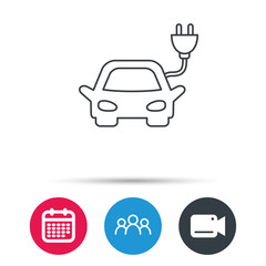 Electric car icon. Hybrid auto transport sign. Group of people, video cam and calendar icons. Vector