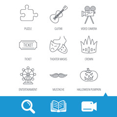 Puzzle, guitar music and theater masks icons. Ticket, video camera and crown linear signs. Entertainment, halloween pumpkin and mustache icons. Video cam, book and magnifier search icons. Vector